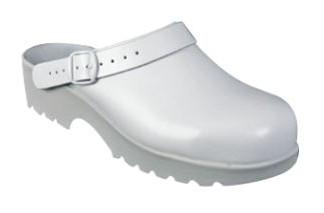 Sabots en cuir blanc avec embout de sécurité